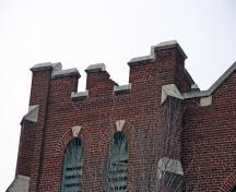 Detail view of a tower at St. John's Church, Winnipeg, 2007; Historic Resources Branch, Manitoba Culture, Heritage and Tourism, 2007