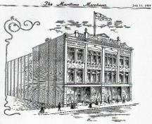 The Peter McSweeney Company, Ltd. is depicted in this artist's drawing.  Most of the exterior details exist on the structure today.; Moncton Museum