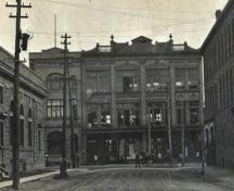 The Peter McSweeney Company, Ltd. was still the largest store in the area at the time of this c1912 photograph, looking south from Botsford Street onto Main.; Moncton Museum