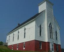 Front and east elevations, Isaac's Harbour Baptist Church, Isaac's Harbour, NS; Heritage Division, NS Dept. of Tourism, Culture and Heritage, 2009