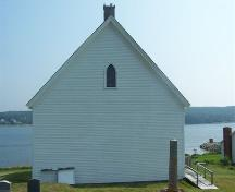 Rear elevation, Isaac's Harbour Baptist Church, Isaac's Harbour, NS; Heritage Division, NS Dept. of Tourism, Culture and Heritage, 2009