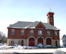 Primary elevation, from the east, of the St. Vital Firehall, Winnipeg, 2007; Historic Resources Branch, Manitoba Culture, Heritage and Tourism, 2007