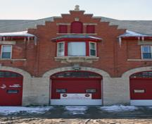 Detail view of the St. Vital Firehall, Winnipeg, 2007; Historic Resources Branch, Manitoba Culture, Heritage and Tourism, 2007