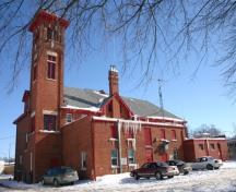 Rear elevation, from the northwest, of the St. Vital Firehall, Winnipeg, 2007; Historic Resources Branch, Manitoba Culture, Heritage and Tourism, 2007
