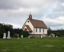 Primary elevations, from the southwest, of St. Helen's Anglican Church, Fairford, 2007; Historic Resources Branch, Manitoba Culture, Heritage and Tourism, 2007