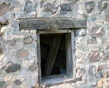 Wall and window detail of the Reeves Barn, Alexander area, 2007; Historic Resources Branch, Manitoba Culture, Heritage and Tourism, 2007