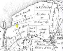 Cemetery is marked with a cross on this 1880 map; Meacham's Illustrated Historical Atlas of PEI, 1880