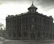 Formerly a branch of the Merchants' Bank of Halifax, the Royal Bank Building was oriented with its entrance at the corner of Main and Alma to ensure maximum business from foot traffic.; Moncton Museum