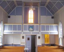 Interior rear, with balcony, St. Vincent de Paul, Queensport, NS; Heritage Division, NS Dept. of Tourism, Culture and Heritage, 2009