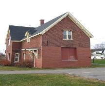 Elevation facing the original site of the railroad, Pugwash Train Station, Pugwash, Nova Scotia; Heritage Division, NS Dept. of Tourism, Culture and Heritage, 2009