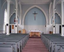 Looking toward altar, showing paint scheme, St. Thomas Church, Salmon River Lake, NS; Heritage Division, NS Department of Tourism, Culture and Heritage, 2009