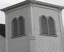 Tower detail, Saint Stephen's Anglican Church, Tusket, NS; Heritage Division, NS Dept. of Tourism, Culture and Heritage, 2009