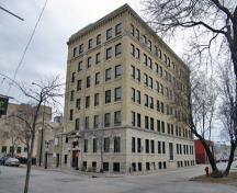 Primary elevations, from the southeast, of the Great West Saddlery Building, Winnipeg, 2007; Historic Resources Branch, Manitoba Culture, Heritage and Tourism, 2007