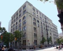 Contextual view, from the northwest, of the R.J. Whitla and Company Building, Winnipeg, 2008; Historic Resources Branch, Manitoba Culture, Heritage and Tourism, 2008