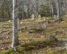 View of old burying ground at rear of church, Argyle Historic Church and Cemetery, Tusket, NS; Heritage Division, NS Dept. of Tourism, Culture and Heritage, 2009