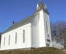 Façade/East gable end and south ridge wall, Argyle Historic Church and Cemetery, Tusket, NS; Heritage Division, NS Dept. of Tourism, Culture and Heritage, 2009