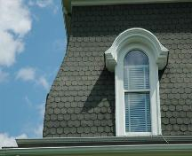 Hooded dormer window on mansard roof.; Heritage Division, N.S. Dept of Tourism, Culture and Heritage, 2009.
