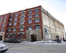 Primary elevation, of the 1898 section, from the northwest, of the Great West Saddlery Warehouse, Winnipeg, 2007; Historic Resources Branch, Manitoba Culture, Heritage and Tourism, 2007