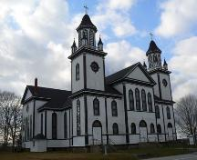 Façade and South Elevation, Sainte Anne's Catholic Church, Sainte-Anne-du-Ruisseau, NS, 2009.; Heritage Division, NS Dept. of Tourism, Culture & Heritage, 2009.