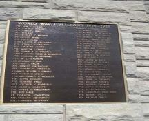 World War I Veterans Plaque.; Kayla Jonas, 2007.