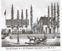 Residence and tannery of J.W. Stewart; Meacham's Illustrated Historical Atlas of PEI, 1880