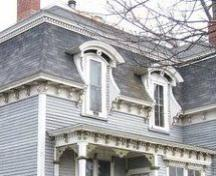 Detail of window hoods and eaves, 96 Church St, Amherst, NS, 2007.; Heritage Division, NS Dept of Tourism, Culture and Heritage, 2007