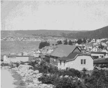 Picture of Southern Cove School in Southern Cove, Heart's Content, NL circa 1930. The school was dismantled and rebuilt as Burrage's Stage in New Perlican, NL. ; Mizzen Heritage Society 2009