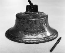 Picture of the bell saved from the Resolute when the ship sank in Friar's Cove, Harbour Breton, NL.; Doug Wells 2010