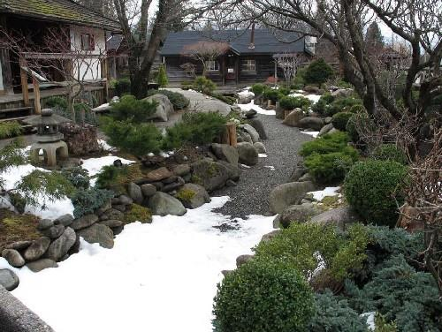 View of the traditional Japanese ornamental garden