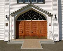 Front Entrance, St. Peter's Roman Catholic Church, Tracadie, Nova Scotia, 2009.; Heritage Division, N.S. Dept. of Tourism, Culture and Heritage, 2009.