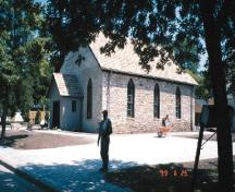 Corner view of the Nazrey African Methodist Episcopal Church National Historic Site of Canada, after renovations, 1999.; Agence Parcs Canada / Parks Canada Agency, 1999.