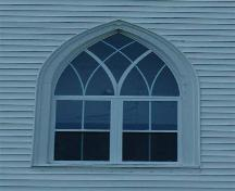 Central window detail, Holy Rosary Church, Ballantyne's Cove, Nova Scotia, 2009.; Heritage Division, N.S. Dept. of Tourism, Culture and Heritage, 2009.