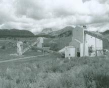 View of Coleman National Historic Site of Canada, showing the mine site, 1998.; Parks Canada Agency / Agence Parcs Canada, L. Felske, 1998.