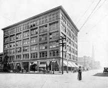 Sayward Building, historic image; from British Columbia: Its History, People, Commerce, Industries and Resources. (1912)