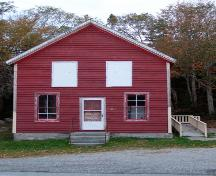 The front elevation of the Port Joli Community Hall, Port Joli, NS.; NS Dept. of Tourism, Culture & Heritage, 2009