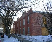 View of the front and north side elevation of Hudson's Bay Company Stables/Ortona Armoury (February 2005); City of Edmonton, 2005