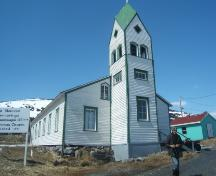 View of mainfacade of Moravian Church, Nain, Labrador. Photo taken June 2009.; HFNL 2009