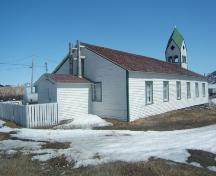 View of rear facade of Moravian Church, Nain, Labrador. Photo taken June 2009.; HFNL 2009