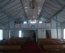 View of interior of Moravian Church, Nain, Labrador. Photo taken June 2009.; HFNL 2009