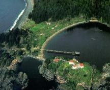 Aerial view of the Yuquot village area.; Parks Canada/Parcs Canada, 1997
