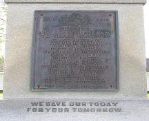The World War One commemorative plaque on the Lockeport Cenotaph, Town of Lockeport, NS.; NS Dept. of Tourism, Culture & Heritage, 2009