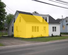 The size of the original house is indicated in yellow; Bernard LeBlanc