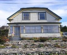 The front (south) elevation of the James Atkins House in the  Town of Lockeport, NS.; NS Dept. of Tourism, Culture & Heritage, 2009