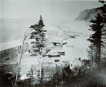 Image of Dark Harbour Pond taken from the southern cliff looking north along the seawall. This image captures the fishing community of about 200 residents who lived here at around 1900.; Grand Manan Archives