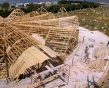 Photo of the forms used for the concrete roof during the construction of the church in 1963; Private collection