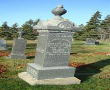 This monument to Robert Bells is an example of the diverse collection of headstones in the Old North Head Cemetery; Grand Manan Historical Society