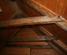 Showing wooden pegs in rafters; Province of PEI, 2008