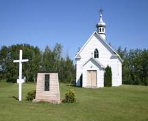 Primary elevations, from the southeast, of Lakedale Holy Ghost Ukrainian Catholic Church, Angusville area, 2009; Historic Resources Branch, Manitoba Culture, Heritage and Tourism, 2009