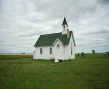 Primary elevations, from the southwest, of Union Point United Church, Morris area, 2009; Historic Resources Branch, Manitoba Culture, Heritage and Tourism, 2009