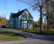 A northwest perspective view of the Enos W. Page House in its setting in the Town of Lockeport, NS.; Heritage Division, NS Dept. of Tourism, Culture & Heritage,2009